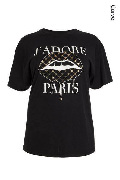 Curve Black Lips Slogan T Shirt